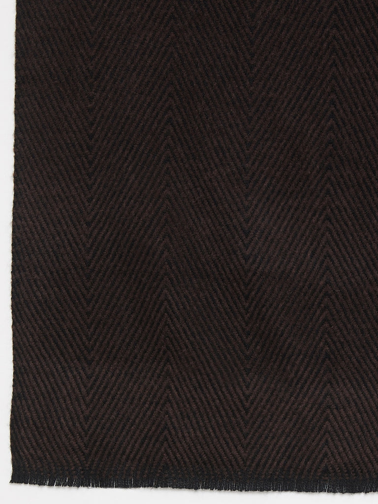 Black & Brown Chevron Cotton Blended Scarf