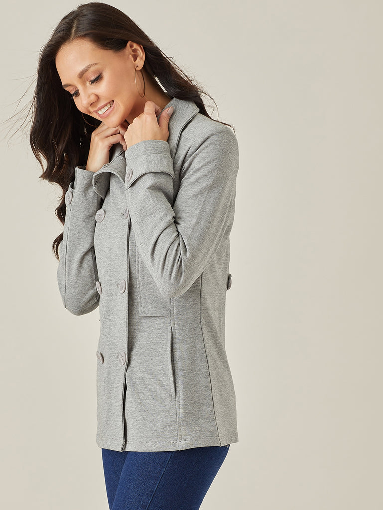Grey melange double breasted cotton lycra jacket