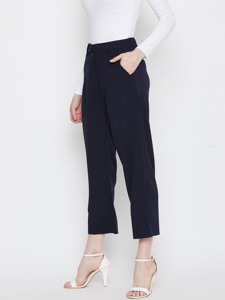 Navy Pleat Front Pants