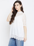 White Lace Detail Top