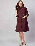 Wine Cotton Pleated Cutout Mini Dress