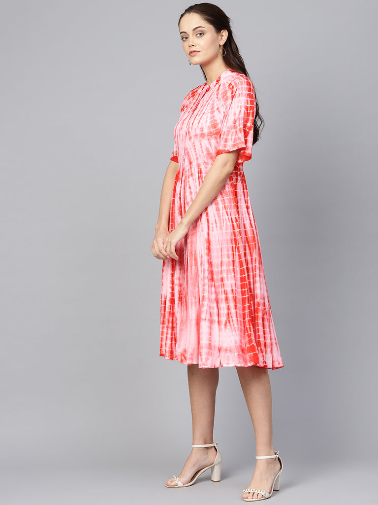 Red Tie-Dyed Button Down Midi Dress