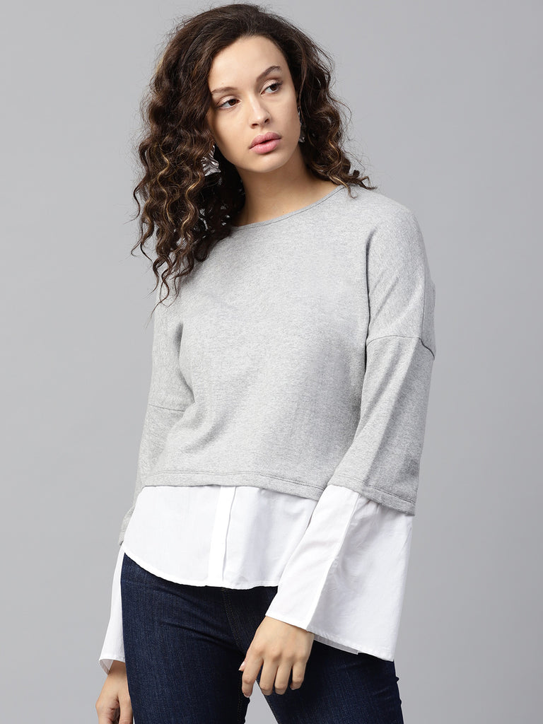 Grey Sweater with contrast detail Sleeve