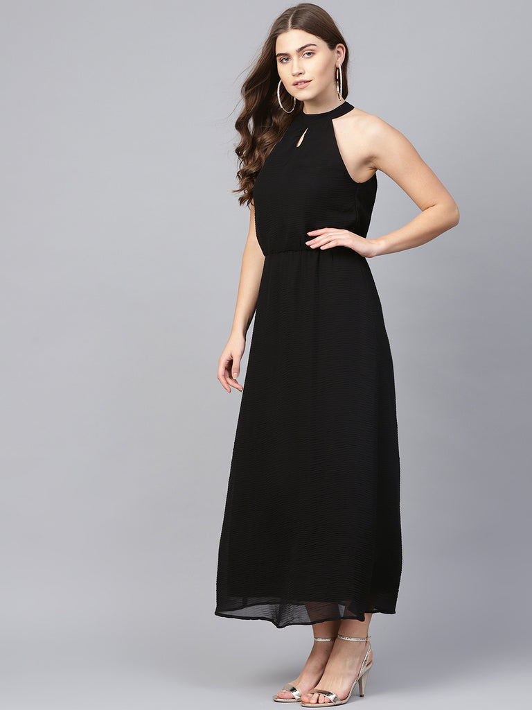 Black Pleated Halter Neck Maxi Dress