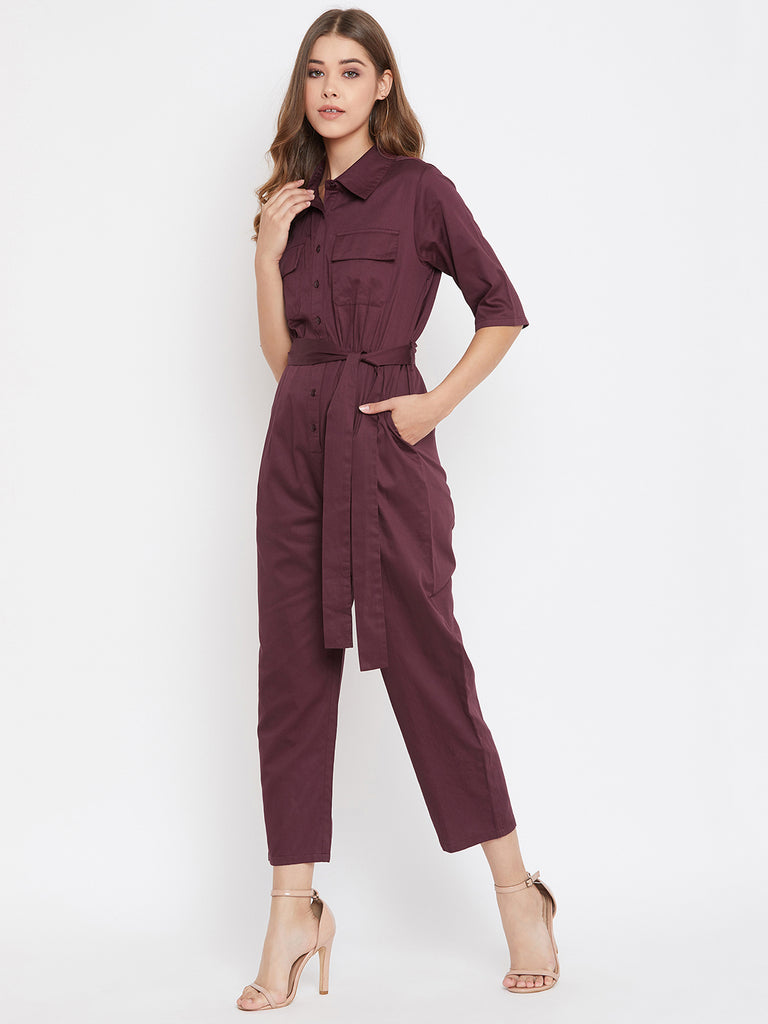 Wine Button Down Utility Jumpsuit