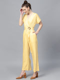 Yellow Surplice Neck jumpsuit