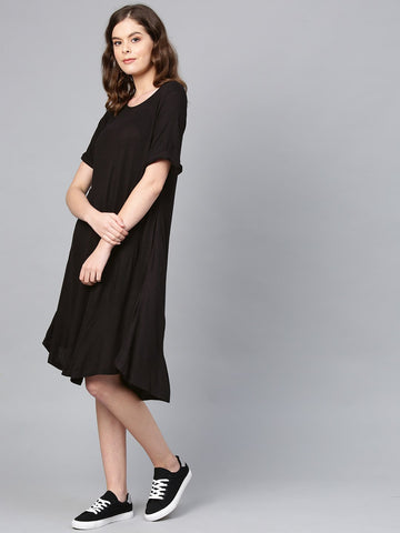Black Rolled Up Midi Dress