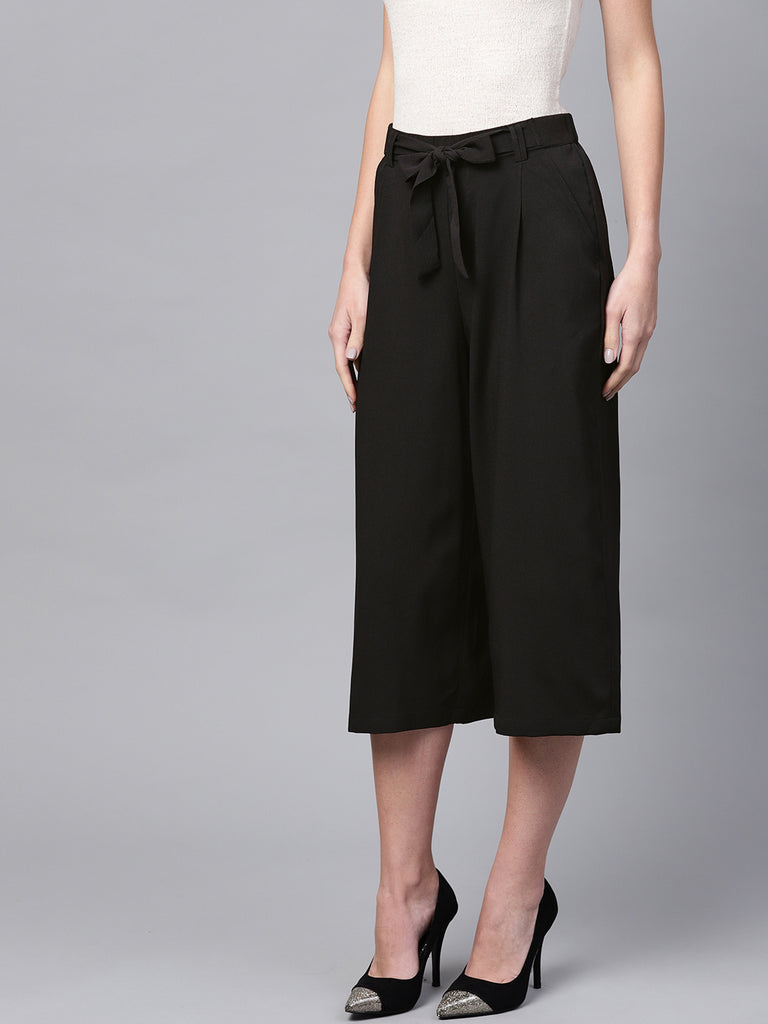 Black elasticated tie up pants