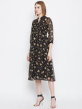 Black Ditsy Smocked Midi Dress