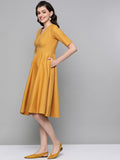 Mustard Cotton Fit & Flare Midi Dress