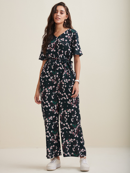 Green Ditsy Floral V Neck Jumpsuit