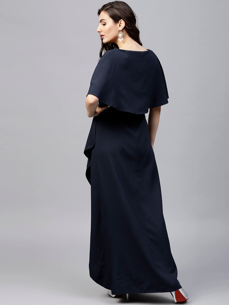 Navy Formal Cape Maxi Dress