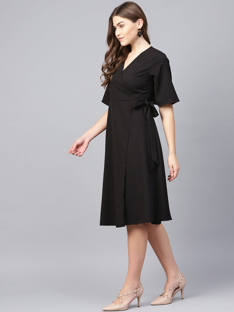 Black Wrap Midi Dress