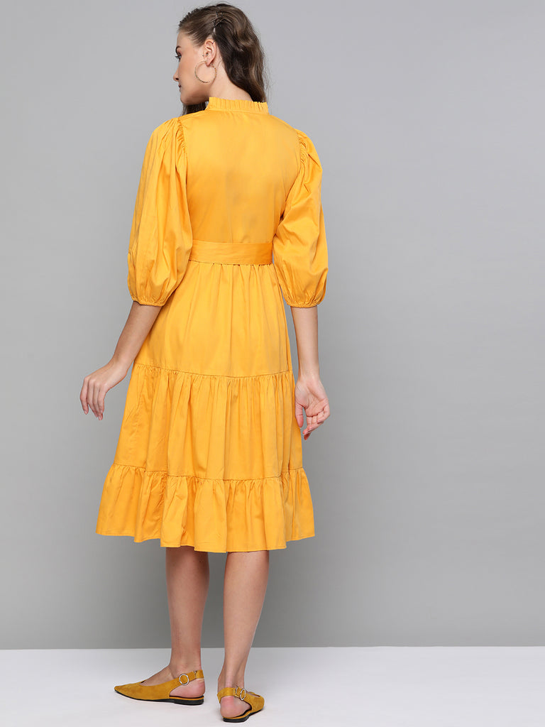 Yellow Cotton Tiered Fit & Flare Midi Dress
