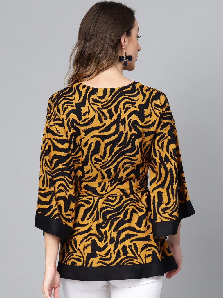 Mustard Abstract Zebra Tieup Tunic