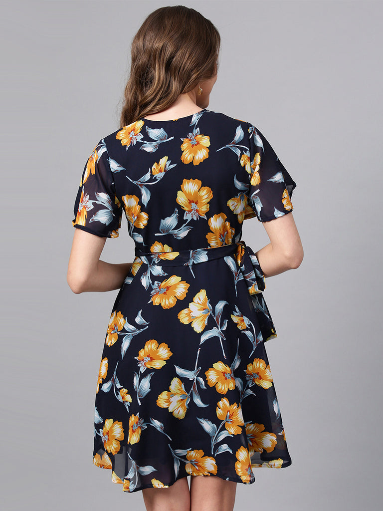 Navy Floral printed wrap Dress