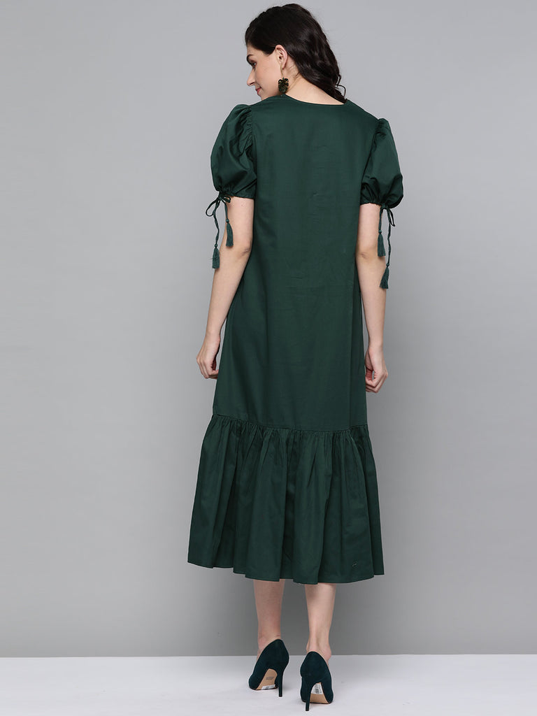 Emerald Cotton Oversized Tassel Maxi Dress