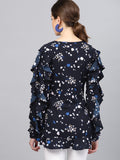 Midnight print ruffle detail wrap top