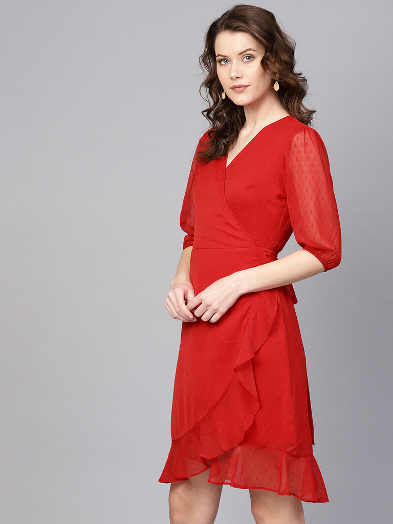 Red Dobby Wrap Mini Dress