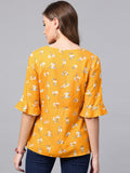 Mustard Floral Printed Wrap Top