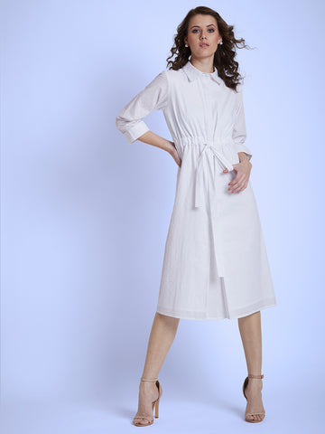 White Dobby Shirt Waist Tie-up Dress