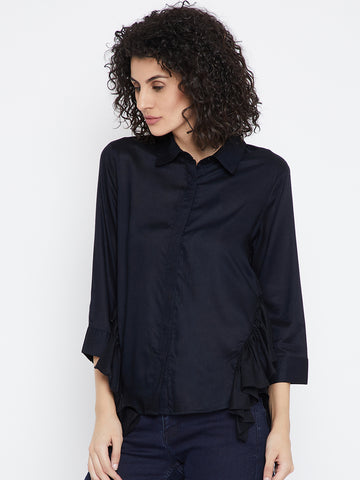 Navy side ruffle shirt