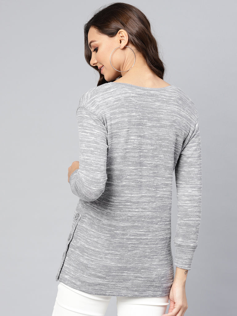 Grey melange side button detail top