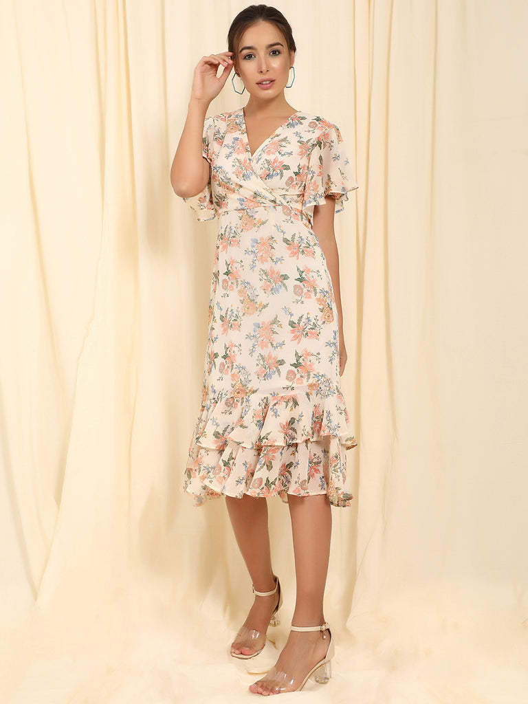 Ecru Floral Ruffled Up Midi Dress
