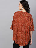 Rust Ditsy Polka Oversized Shirt