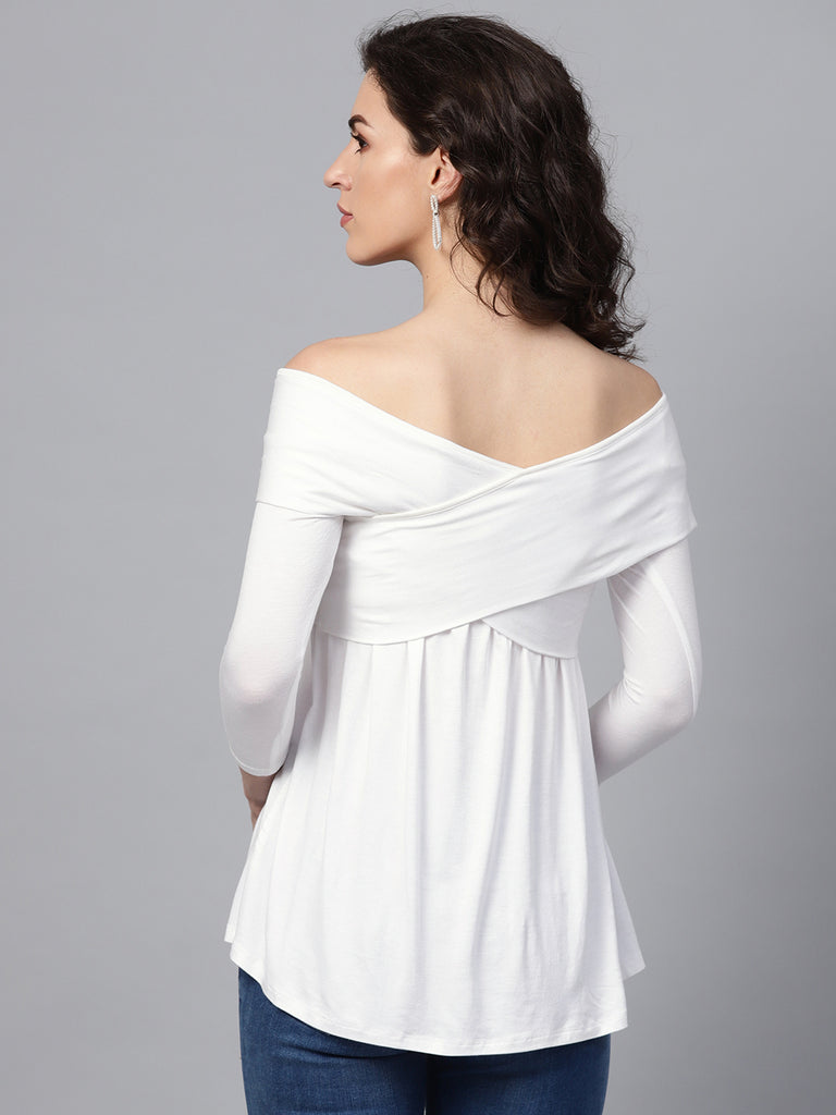 White Waterfall Off-Shoulder Top