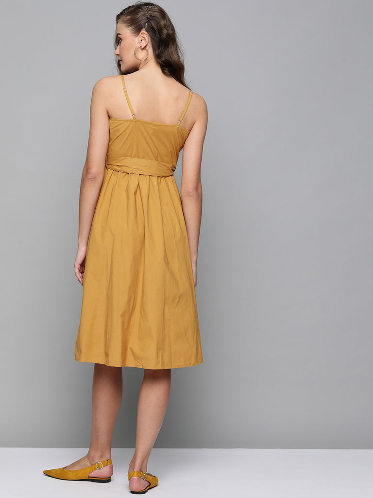 Mustard Cotton Strappy Button Down Midi Dress