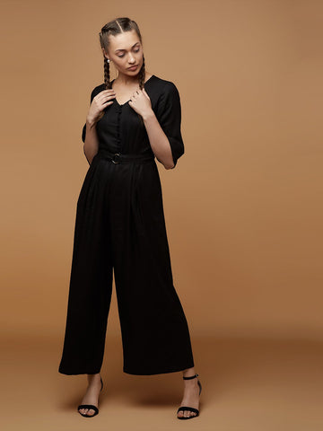 Black Button Down Jumpsuit