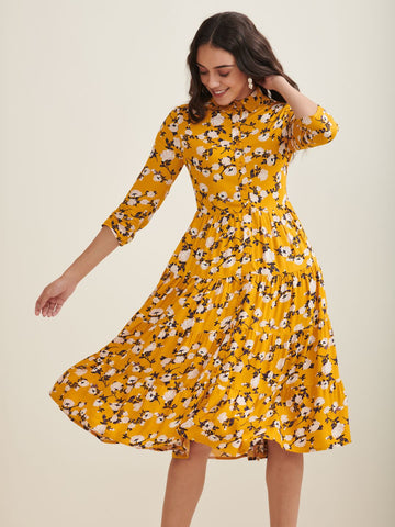 Yellow floral tier midi shirt dress