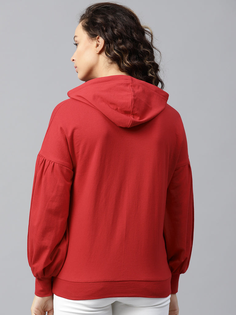 Red Oversized Tape Detail  Hoodie
