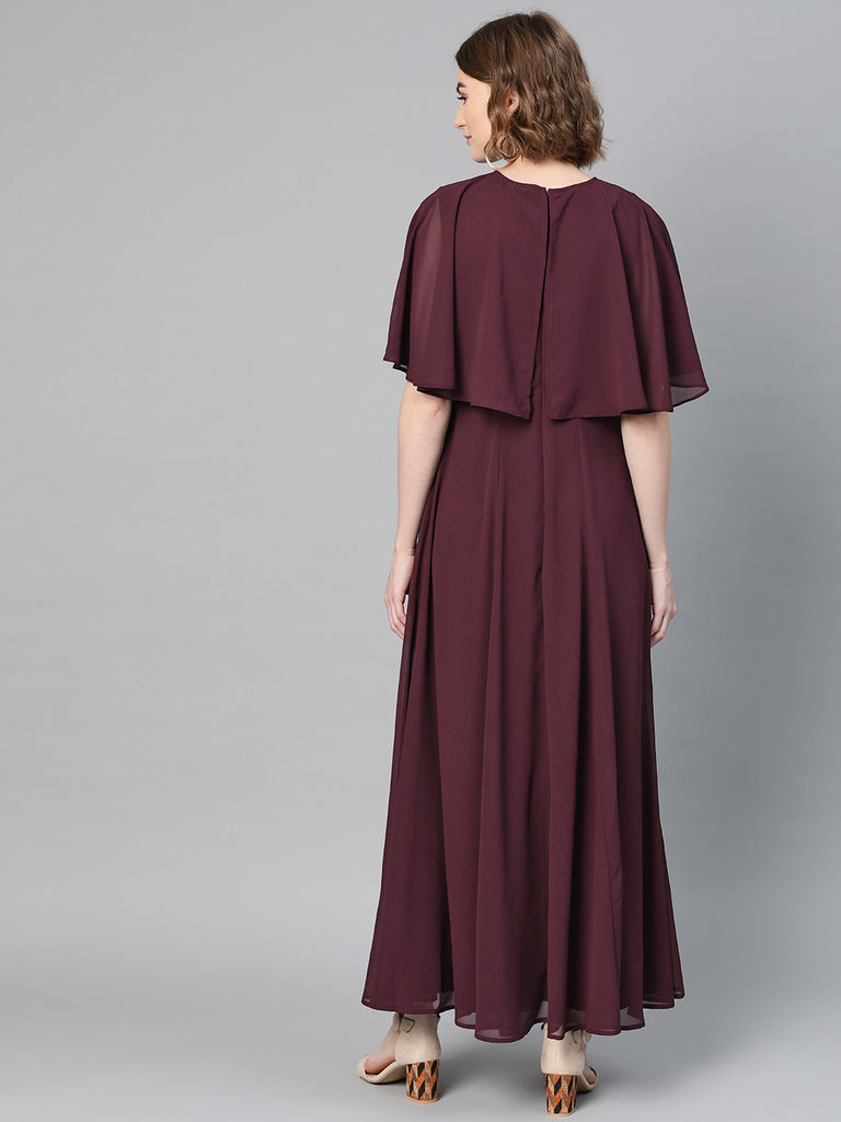Wine Cape Overlay Maxi Dress