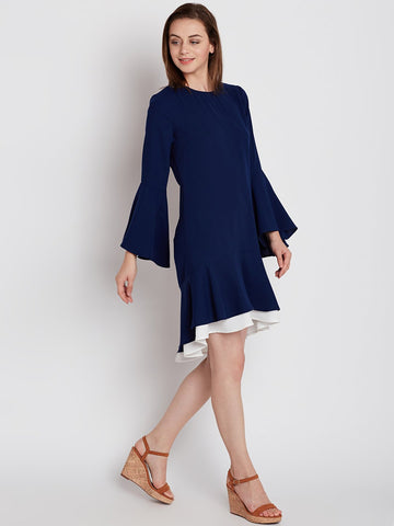 Navy Colour Block Ruffle Dress