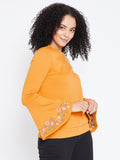Mustard Bell Sleeve Embroidered Sweatshirt