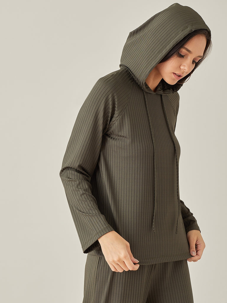 Green Ribbed Hoodie Pullover
