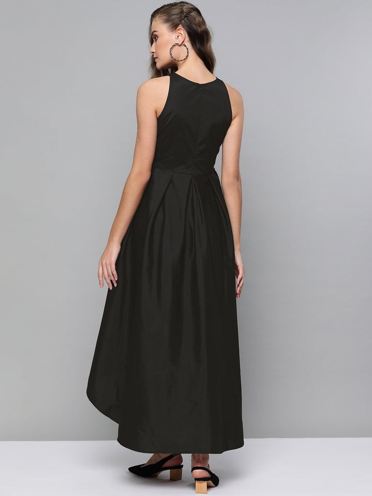 Black Cotton Tie up Hi-Low Dress