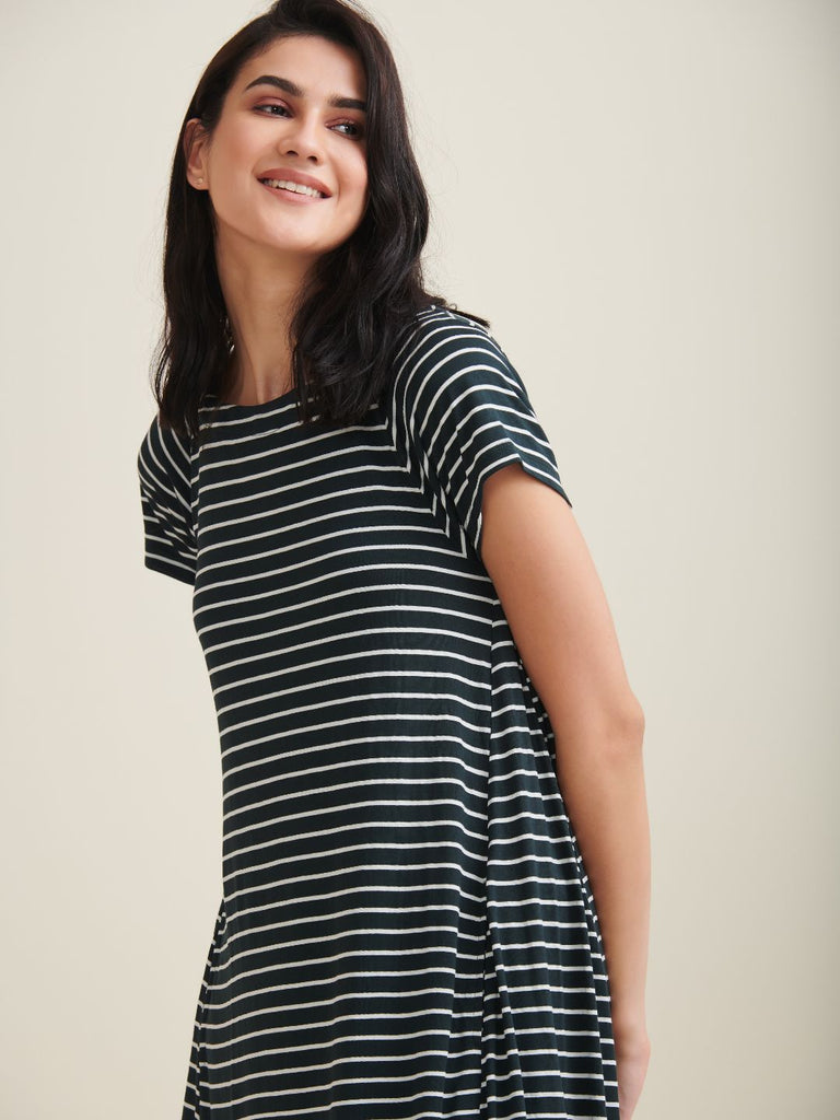 Green Stripe Swing Jersey Dress