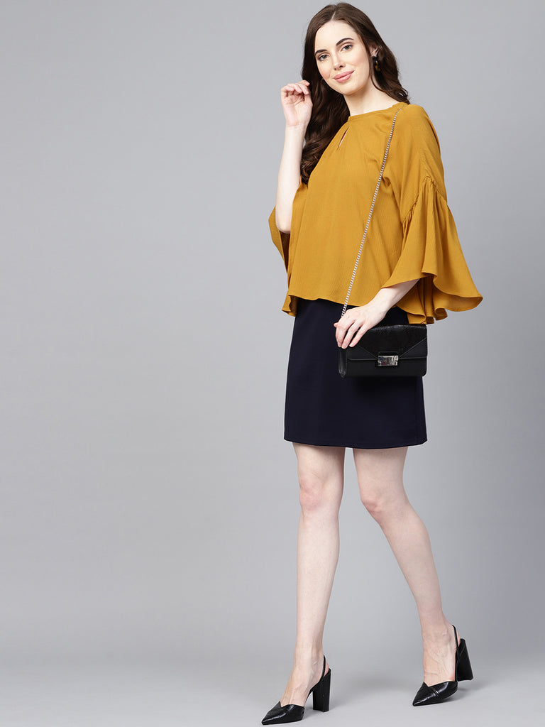 Mustard Back Keyhole Top