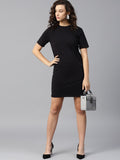 Black shift with deep back dress