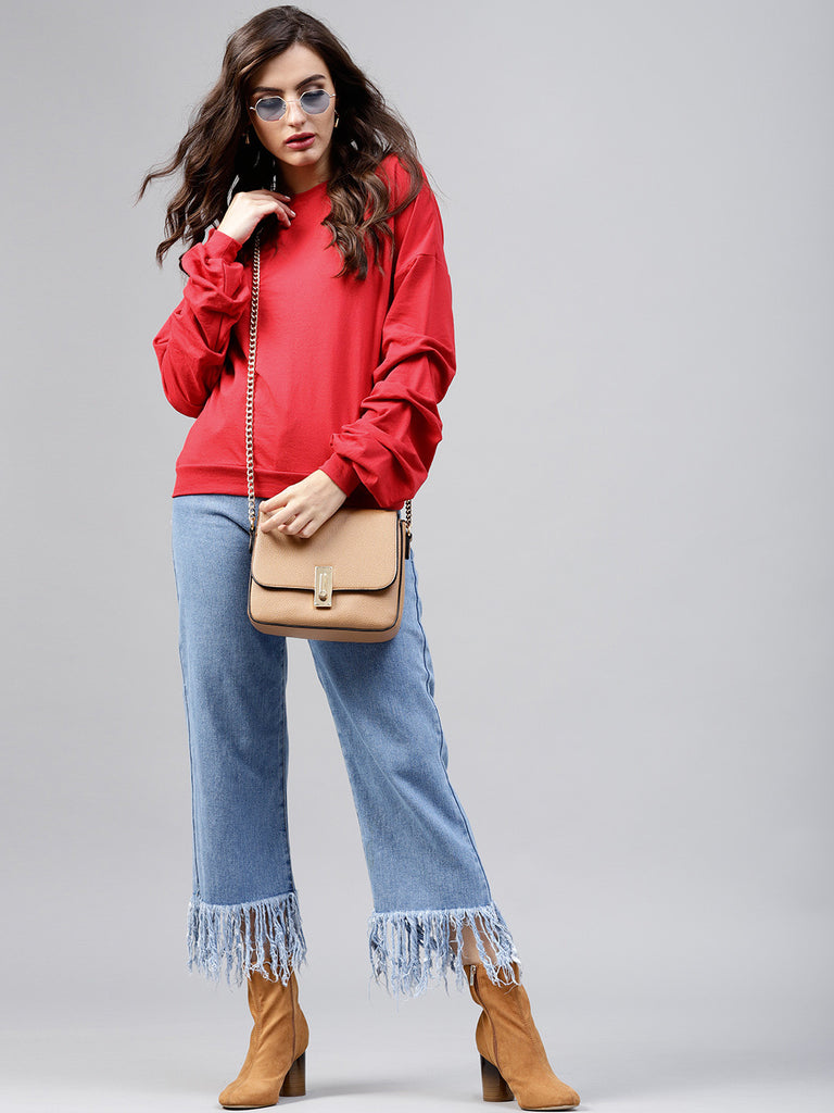 Red Sleeve Gathered Detail Sweatshirt