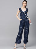 Navy Checks Ruffle detail Jumpsuit