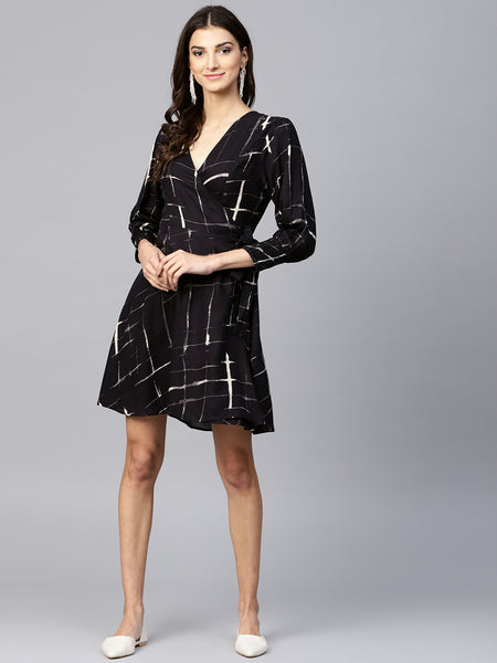 Black Smocked Wrap Mini Dress