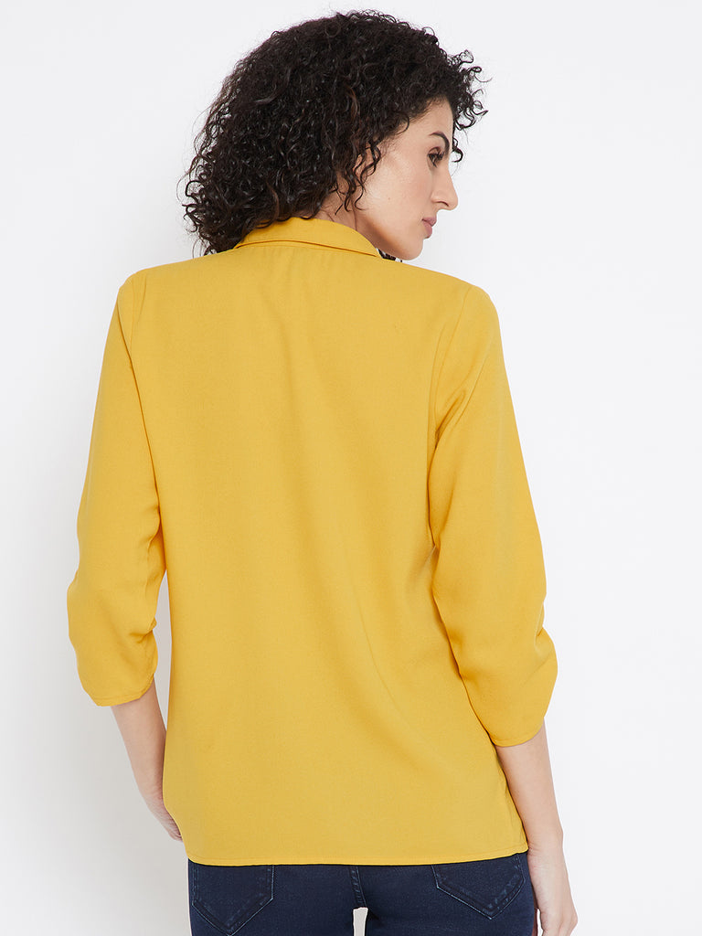 Yellow smocked sleeve shirt
