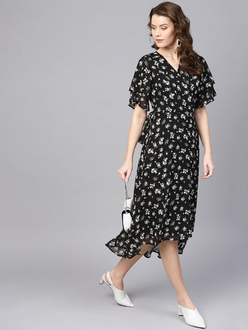 Black print two tier sleeve wrap midi