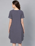 Navy Striped Rolled Up Midi Dress