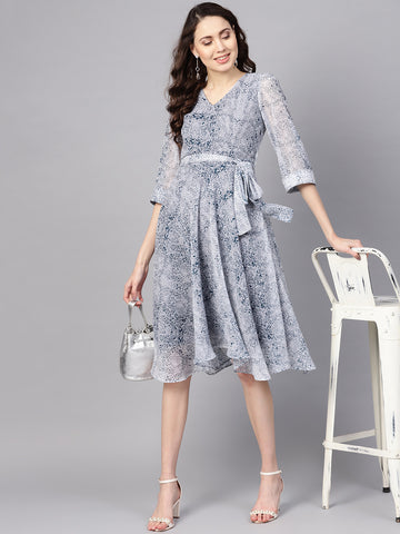 Navy Snake Print Flared dress