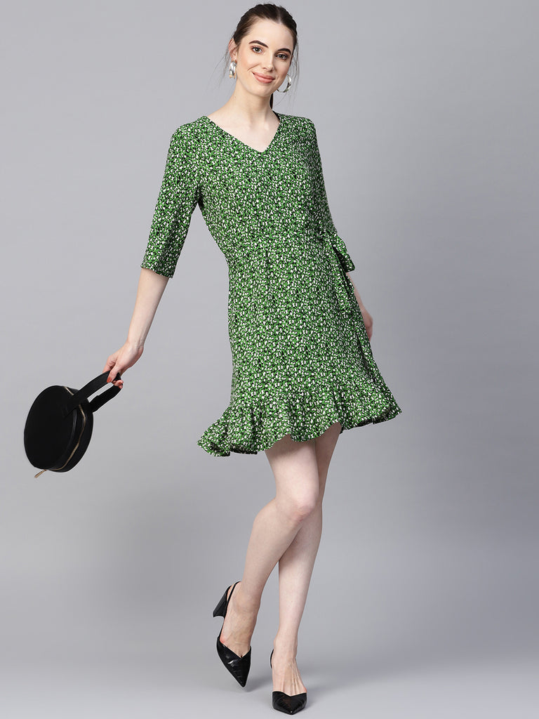 Green Leopard print Ruffle Mini Dress
